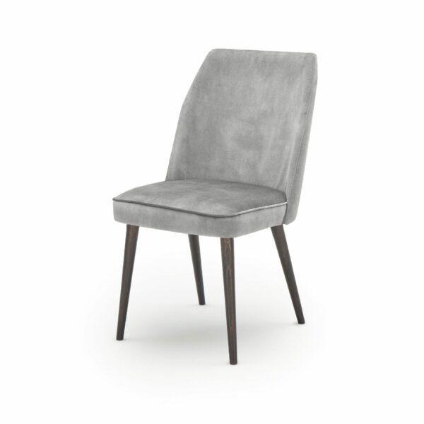 """WK Wohnen Edition """"7006"""" Esszimmerstuhl mit Bezug Textilgewebe Velvet in der Farbe Dolphine in seitlicher Ansicht."""