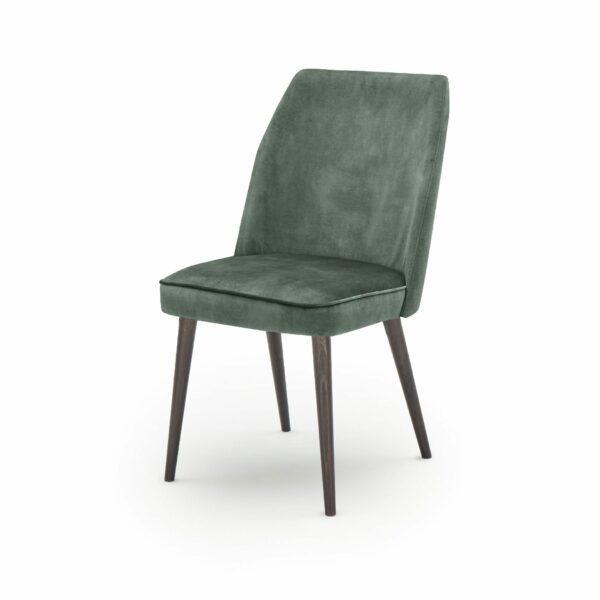 """WK Wohnen Edition """"7006"""" Esszimmerstuhl mit Bezug Textilgewebe Velvet in der Farbe Niagara in seitlicher Ansicht."""