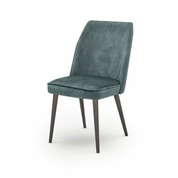"""WK Wohnen Edition """"7006"""" Esszimmerstuhl mit Bezug Textilgewebe Velvet in der Farbe Petrol in seitlicher Ansicht."""