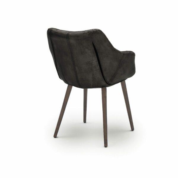 """WK Wohnen Edition """"7007"""" Armlehnenstuhl mit Bezug Leder Buffalo glänzend in der Farbe Black in Rückansicht."""