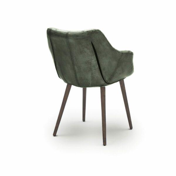 """WK Wohnen Edition """"7007"""" Armlehnenstuhl mit Bezug Leder Buffalo glänzend in der Farbe British Green in Rückansicht."""