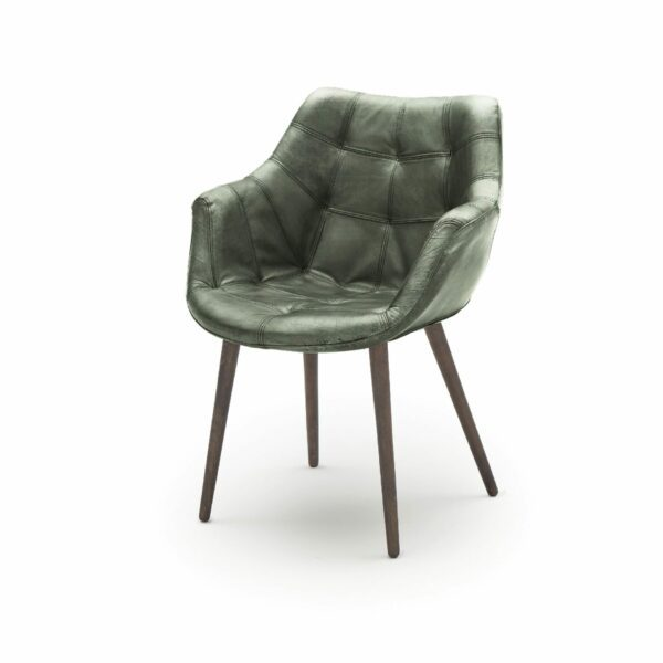 """WK Wohnen Edition """"7007"""" Armlehnenstuhl mit Bezug Leder Buffalo glänzend in der Farbe British Green in seitlicher Ansicht."""