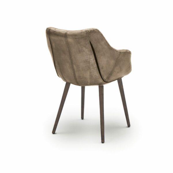 """WK Wohnen Edition """"7007"""" Armlehnenstuhl mit Bezug Leder Buffalo glänzend in der Farbe Lampre in Rückansicht."""