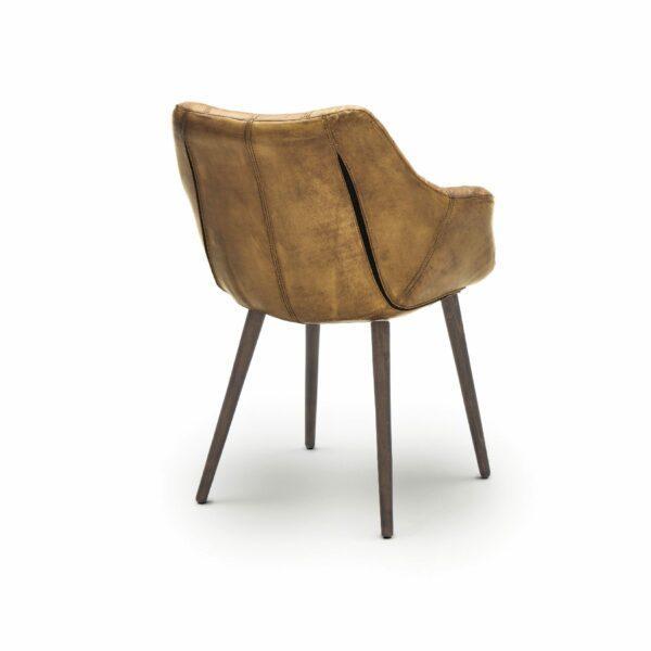 """WK Wohnen Edition """"7007"""" Armlehnenstuhl mit Bezug Leder Buffalo glänzend in der Farbe Light Brown in Rückansicht."""