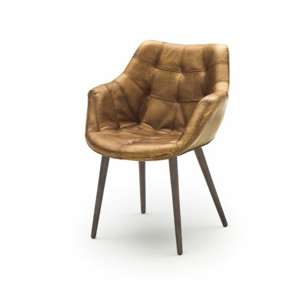 """WK Wohnen Edition """"7007"""" Armlehnenstuhl mit Bezug Leder Buffalo glänzend in der Farbe Light Brown in seitlicher Ansicht."""