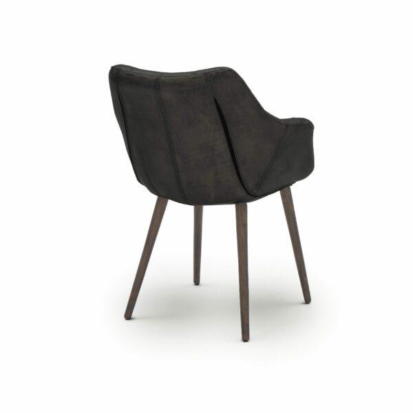 """WK Wohnen Edition """"7007"""" Armlehnenstuhl mit Bezug Leder Buffalo matt in der Farbe Black in Rückansicht."""