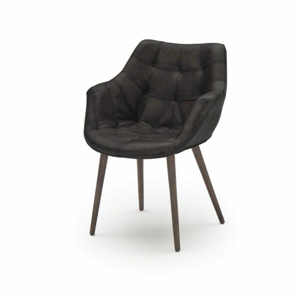 """WK Wohnen Edition """"7007"""" Armlehnenstuhl mit Bezug Leder Buffalo matt in der Farbe Black in seitlicher Ansicht."""