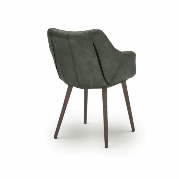 """WK Wohnen Edition """"7007"""" Armlehnenstuhl mit Bezug Leder Buffalo matt in der Farbe British Green in Rückansicht."""