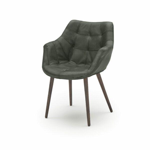 """WK Wohnen Edition """"7007"""" Armlehnenstuhl mit Bezug Leder Buffalo matt in der Farbe British Green in seitlicher Ansicht."""