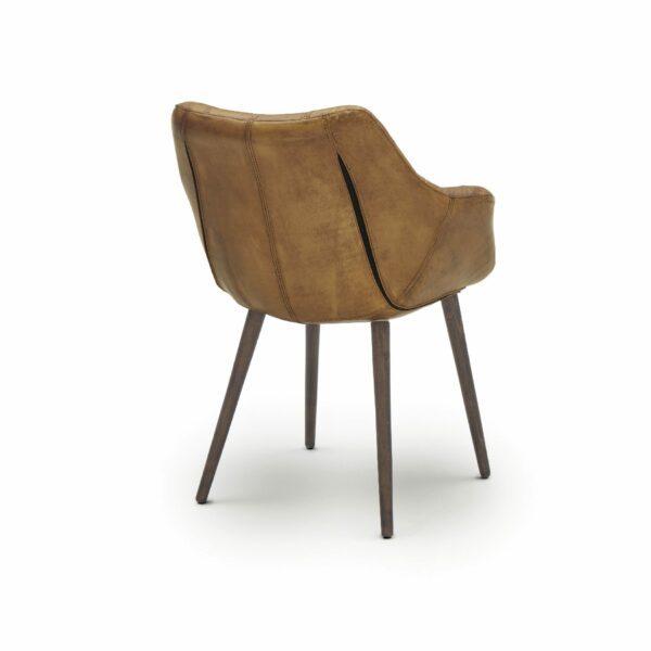 """WK Wohnen Edition """"7007"""" Armlehnenstuhl mit Bezug Leder Buffalo matt in der Farbe Light Brown in Rückansicht."""