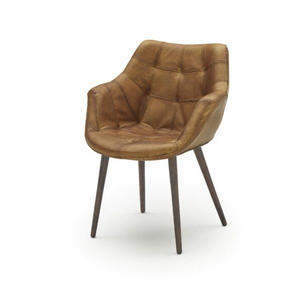 """WK Wohnen Edition """"7007"""" Armlehnenstuhl mit Bezug Leder Buffalo matt in der Farbe Light Brown in seitlicher Ansicht."""