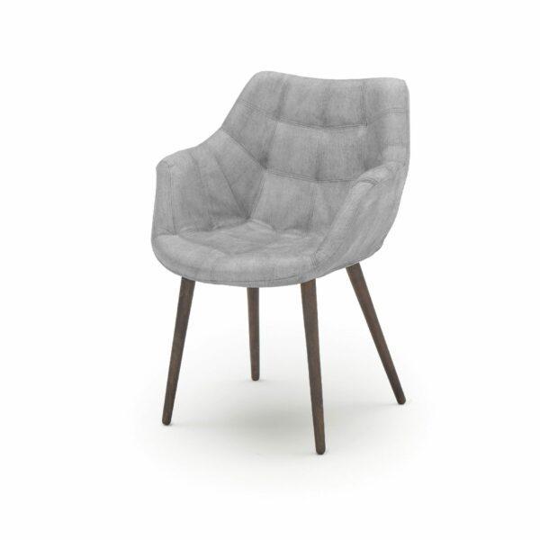 """WK Wohnen Edition """"7007"""" Armlehnenstuhl mit Bezug Textilgewebe Velvet in der Farbe Dolphine in seitlicher Ansicht."""