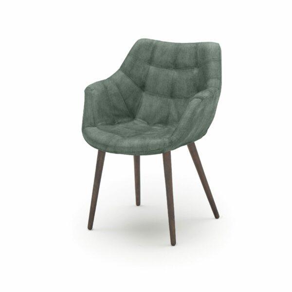 """WK Wohnen Edition """"7007"""" Armlehnenstuhl mit Bezug Textilgewebe Velvet in der Farbe Niagara in seitlicher Ansicht."""