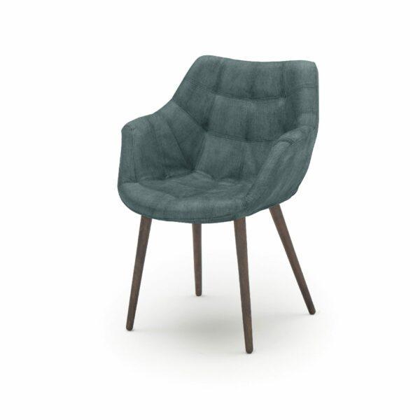 """WK Wohnen Edition """"7007"""" Armlehnenstuhl mit Bezug Textilgewebe Velvet in der Farbe Petrol in seitlicher Ansicht."""