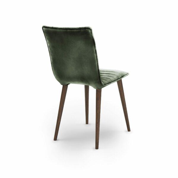 """WK Wohnen Edition """"7010"""" Esszimmerstuhl mit Bezug Leder Buffalo glänzend in der Farbe British Green in Rückansicht."""