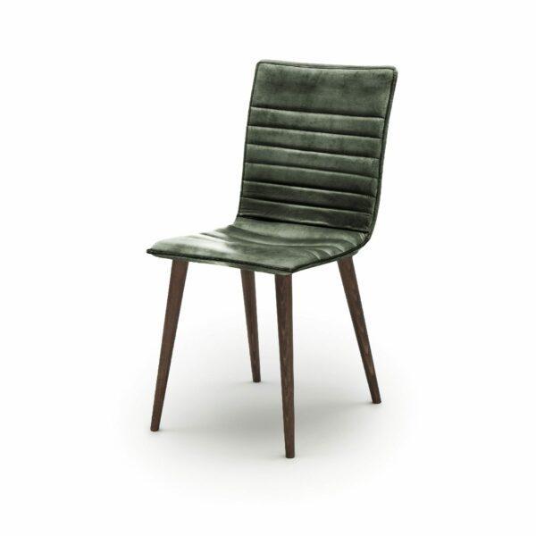 """WK Wohnen Edition """"7010"""" Esszimmerstuhl mit Bezug Leder Buffalo glänzend in der Farbe British Green in seitlicher Ansicht."""