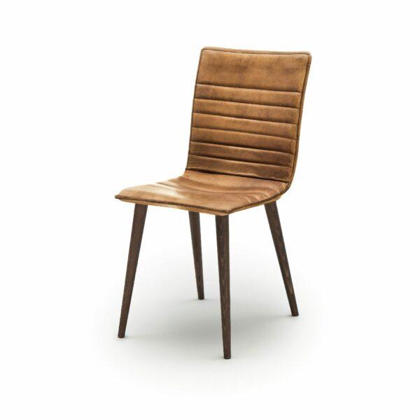 """WK Wohnen Edition """"7010"""" Esszimmerstuhl mit Bezug Leder Buffalo glänzend in der Farbe Light Brown in seitlicher Ansicht."""