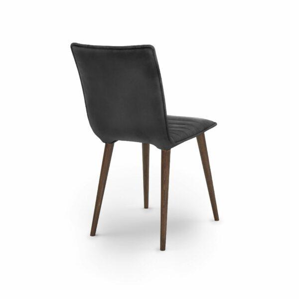 """WK Wohnen Edition """"7010"""" Esszimmerstuhl mit Bezug Leder Buffalo matt in der Farbe Black in Rückansicht."""