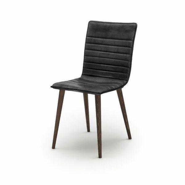 """WK Wohnen Edition """"7010"""" Esszimmerstuhl mit Bezug Leder Buffalo matt in der Farbe Black in seitlicher Ansicht."""