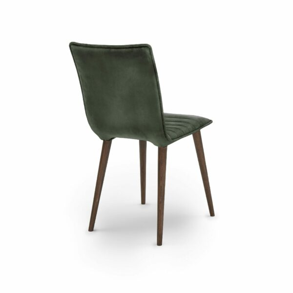 """WK Wohnen Edition """"7010"""" Esszimmerstuhl mit Bezug Leder Buffalo matt in der Farbe British Green in Rückansicht."""