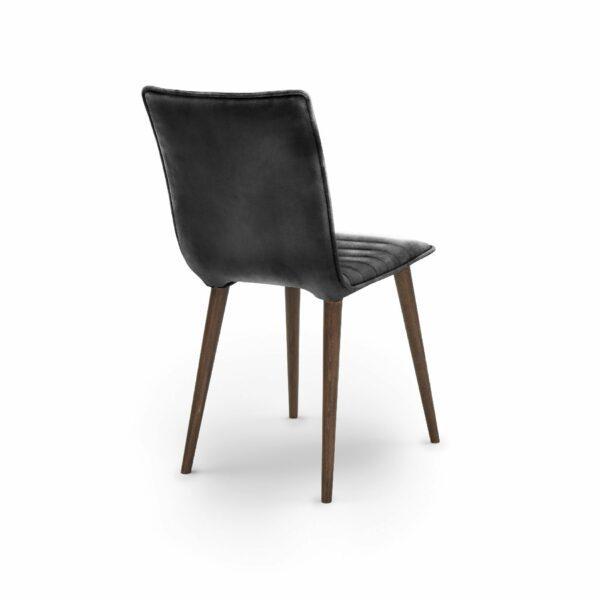 """WK Wohnen Edition """"7010"""" Esszimmerstuhl mit Bezug Leder Buffalo glänzend in der Farbe Black in Rückansicht."""