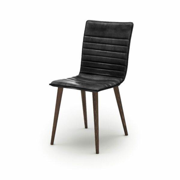 """WK Wohnen Edition """"7010"""" Esszimmerstuhl mit Bezug Leder Buffalo glänzend in der Farbe Black in seitlicher Ansicht."""