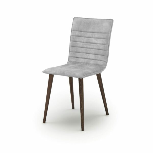 """WK Wohnen Edition """"7010"""" Esszimmerstuhl mit Bezug Textilgewebe Velvet in der Farbe Dolphine in seitlicher Ansicht."""
