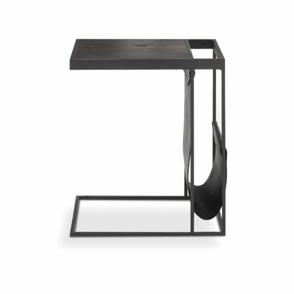"""WK Wohnen Edition """"9001"""" Beistelltisch mit Tischplatte Rustikal Oak Carbon und Lederbezug Black matt in frontaler Ansicht."""