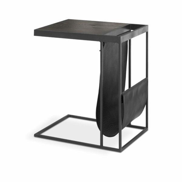 """WK Wohnen Edition """"9001"""" Beistelltisch mit Tischplatte Rustikal Oak Carbon und Lederbezug Black matt in seitlicher Ansicht."""