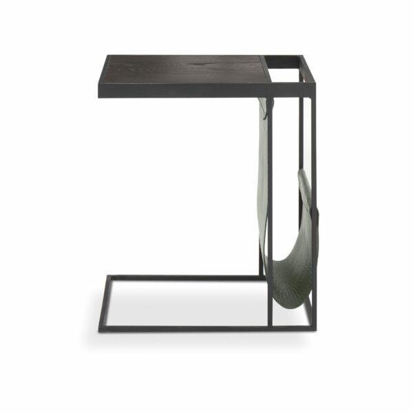 """WK Wohnen Edition """"9001"""" Beistelltisch mit Tischplatte Rustikal Oak Carbon und Lederbezug British Green matt in frontaler Ansicht."""