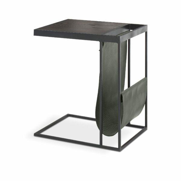 """WK Wohnen Edition """"9001"""" Beistelltisch mit Tischplatte Rustikal Oak Carbon und Lederbezug British Green matt in seitlicher Ansicht."""