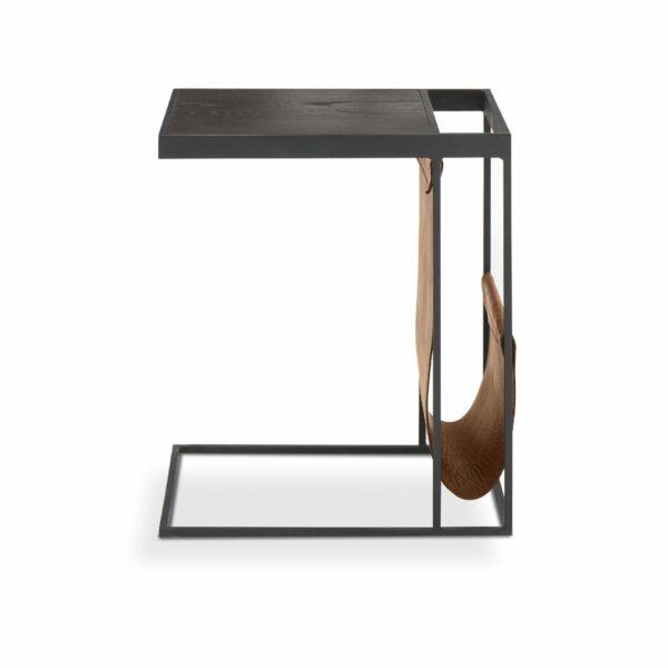 """WK Wohnen Edition """"9001"""" Beistelltisch mit Tischplatte Rustikal Oak Carbon und Lederbezug Light Brown matt in frontaler Ansicht."""