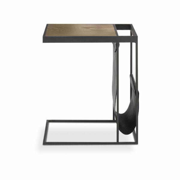 """WK Wohnen Edition """"9001"""" Beistelltisch mit Tischplatte Rustikal Oak Weathered und Lederbezug Black matt in frontaler Ansicht."""
