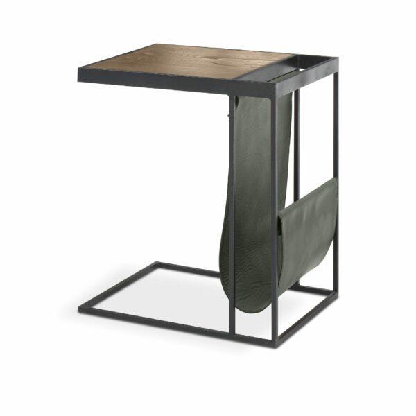 """WK Wohnen Edition """"9001"""" Beistelltisch mit Tischplatte Rustikal Oak Weathered und Lederbezug British Green matt in seitlicher Ansicht."""