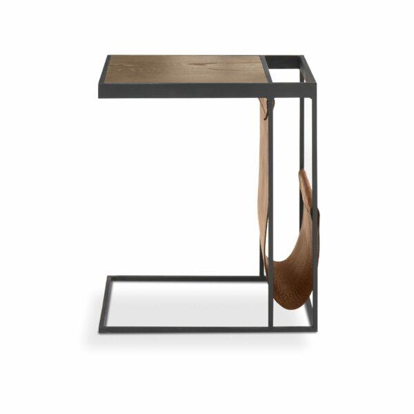 """WK Wohnen Edition """"9001"""" Beistelltisch mit Tischplatte Rustikal Oak Weathered und Lederbezug Light Brown matt in frontaler Ansicht."""