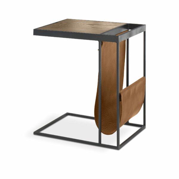 """WK Wohnen Edition """"9001"""" Beistelltisch mit Tischplatte Rustikal Oak Weathered und Lederbezug Light Brown matt in seitlicher Ansicht."""