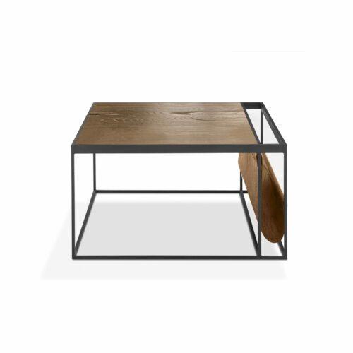 """WK Wohnen Edition """"9002"""" Couchtisch mit Tischplatte Rustikal Oak Weathered und Lederbezug Light Brown matt in frontaler Ansicht."""