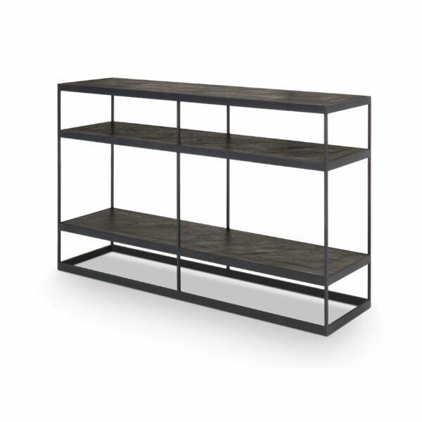 """WK Wohnen Edition """"9003"""" Konsolentisch mit Ablageböden aus Massivholz Rustical Oak Carbon in seitlicher Ansicht."""