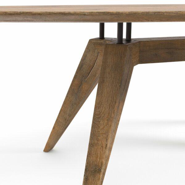 """WK Wohnen Edition """"8001"""" Esstisch Elipse mit Tischplatte in BC Oak Weathered in Detailansicht."""