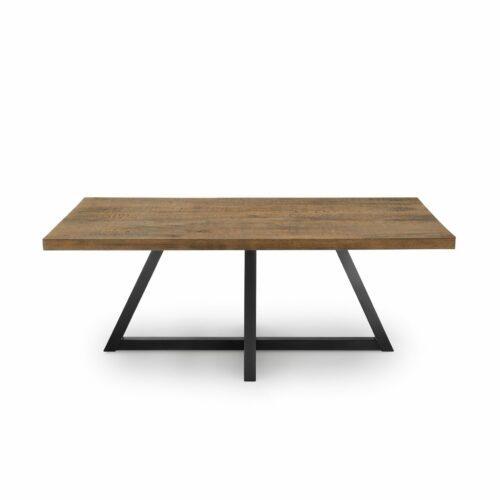 """WK Wohnen Edition """"8002"""" Esstisch mit Tischplatte in Rustical Oak Weathered in frontaler Ansicht."""