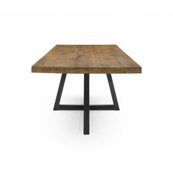 """WK Wohnen Edition """"8002"""" Esstisch mit Tischplatte in Rustical Oak Weathered in Seitenansicht."""