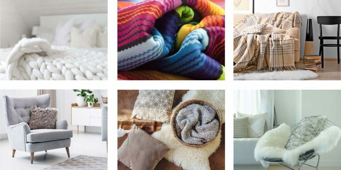 Beispiele für gemütliche Accessoires wie Kissen und Decken