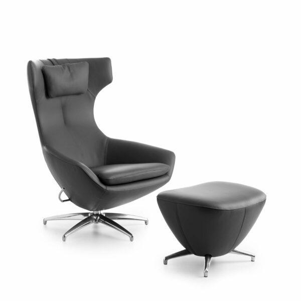 Leolux Caruzzo Sessel Hocker schwarz – mit Nackenkissen