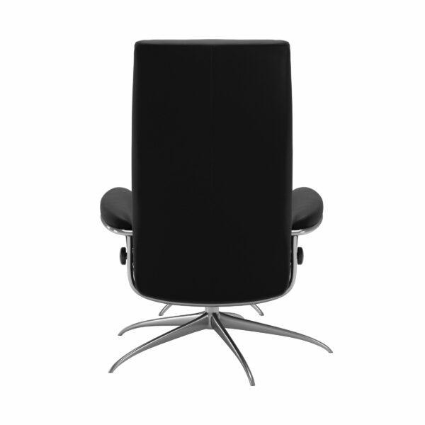 Stressless London Sessel High Back mit Hocker schwarz – Rückansicht