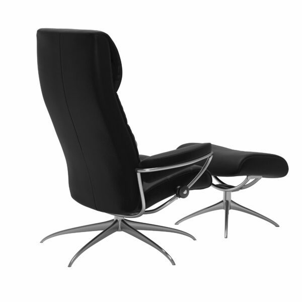 Stressless London Sessel High Back mit Hocker schwarz – Schrägansicht