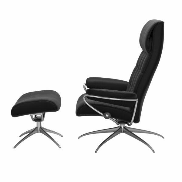 Stressless London Sessel High Back mit Hocker schwarz – Seitenansicht