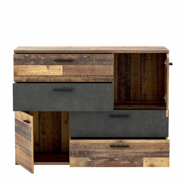 "Trendstore ""Fadia"" Kommode – Korpus Old Wood Vintage/Betonoptik dunkelgrau offen"