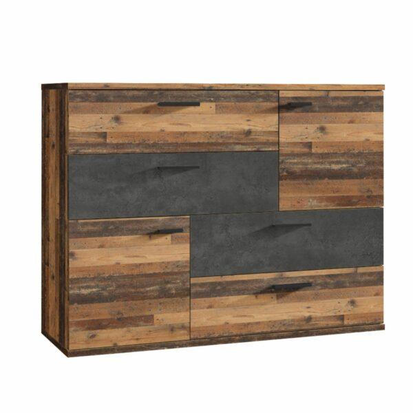 "Trendstore ""Fadia"" Kommode – Korpus Old Wood Vintage/Betonoptik dunkelgrau"