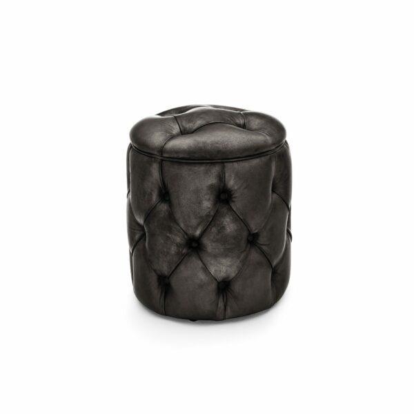 """WK Wohnen Edition """"5004"""" Hocker mit Bezug Leder Buffalo Black glänzend in frontaler Ansicht."""