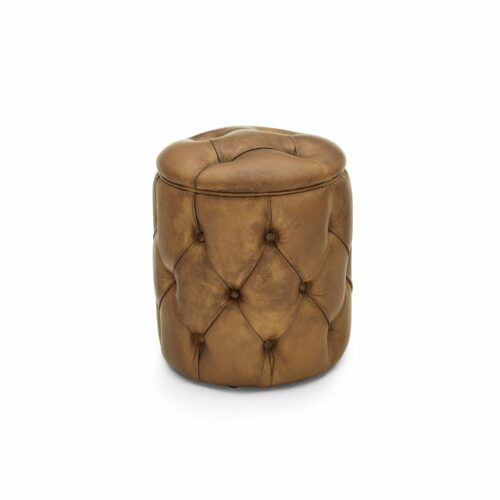 "WK Wohnen Edition ""5004"" Hocker mit Bezug Leder Buffalo Light Brown matt in frontaler Ansicht."